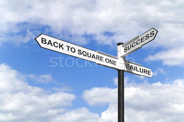 Stock photo: Back to Square One signpost