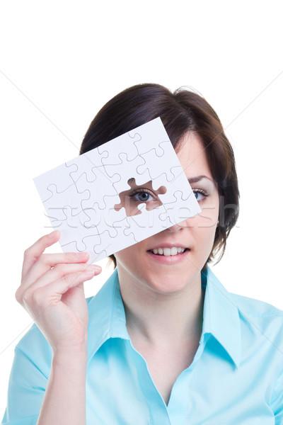 Foto stock: Mujer · mirando · que · falta · pieza · rompecabezas