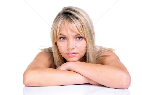 Hermosa rubio ojos azules mujer naturales aislado Foto stock © RTimages