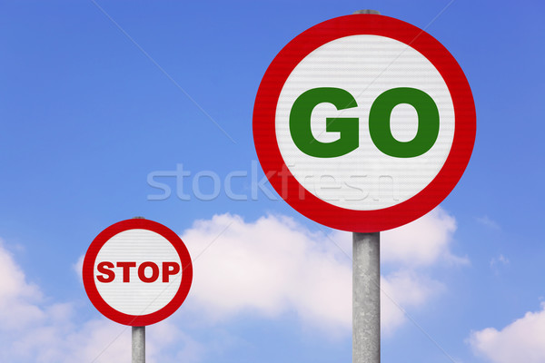 Round roadsigns with GO and STOP on Stock photo © RTimages