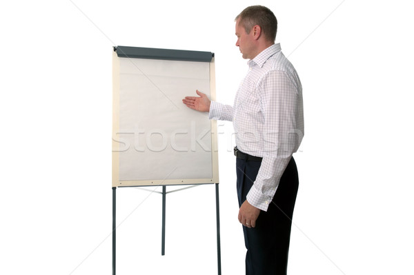 Businessman using a flip chart Stock photo © RTimages