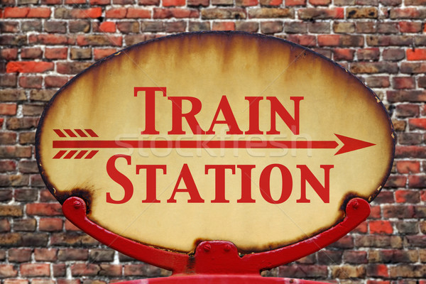 Retro sign Train station Stock photo © RTimages