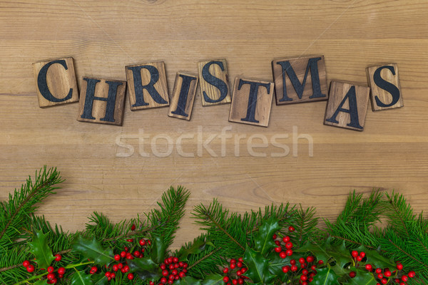 Wooden Christmas with garland Stock photo © RTimages