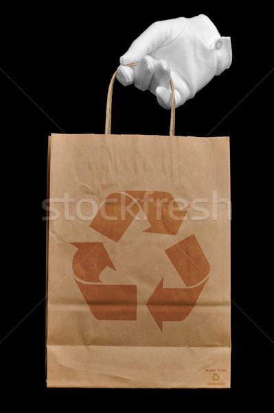 Stockfoto: Gerecycleerd · boodschappentas · hand · witte · handschoen