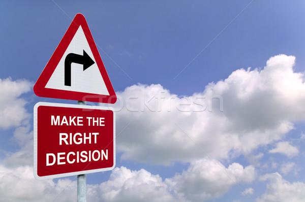 Stockfoto: Beslissing · wegwijzer · hemel · Blauw