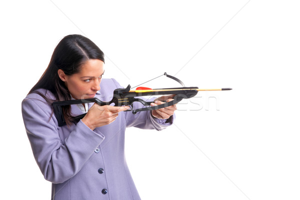Businesswoman shooting a crossbow Stock photo © RTimages
