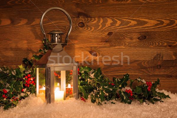 Christmas latarnia śniegu Świeca czerwony jagody Zdjęcia stock © RTimages