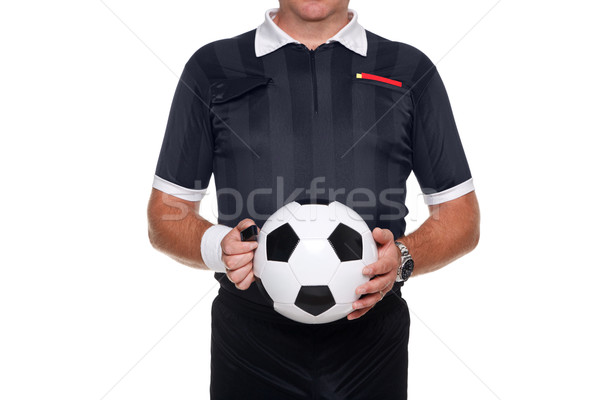 Football referee holding a ball and whistle, isolated Stock photo © RTimages