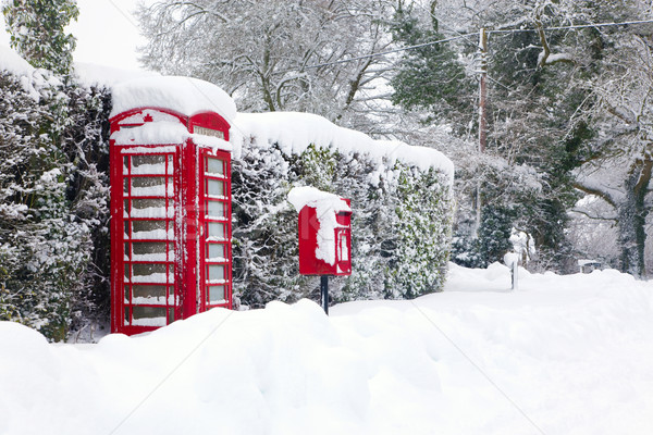 Red telephone and post box in the snow Stock photo © RTimages