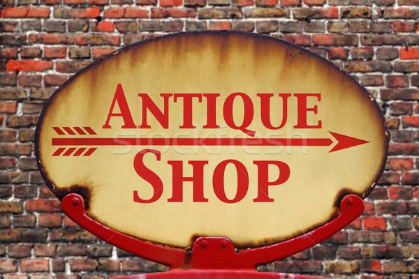 Retro sign Antique shop Stock photo © RTimages