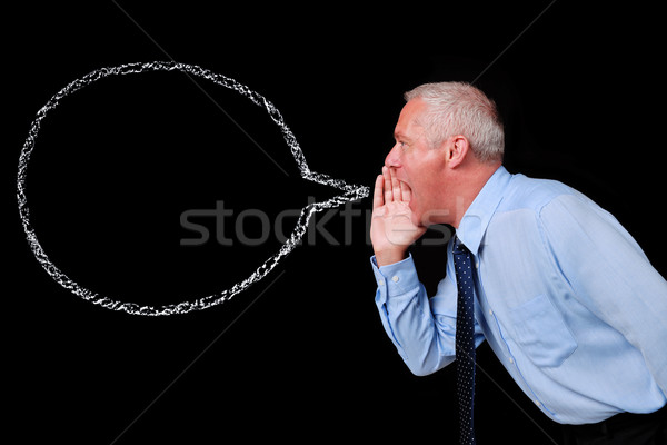 Businessman chalk speech bubble Stock photo © RTimages