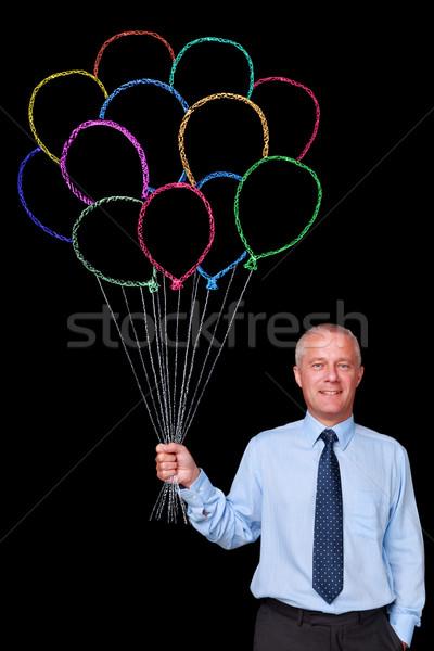Stok fotoğraf: Işadamı · tebeşir · balonlar · fotoğraf · olgun