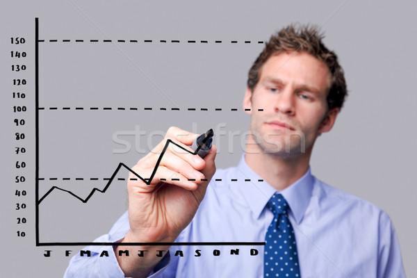 Stock fotó: üzletember · rajz · üveg · képernyő · grafikon · saját