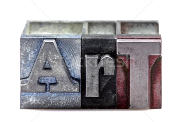 Magasnyomás művészet szó öreg nyomtatás kockák Stock fotó © RTimages