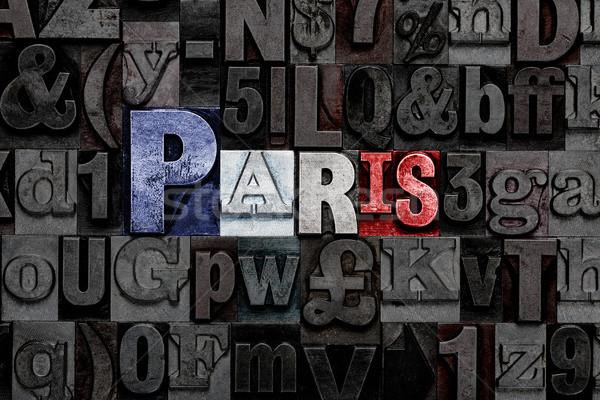 Magasnyomás Párizs zászló szó öreg fém Stock fotó © RTimages