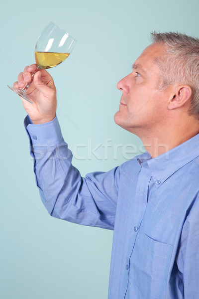 Man holding a glass of white wine checking it's clarity Stock photo © RTimages