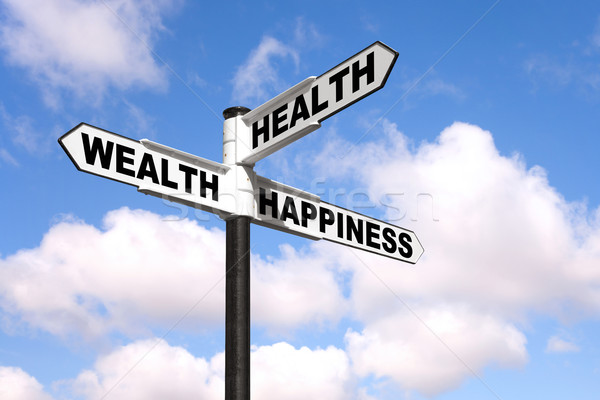 Health Wealth Happiness signpost Stock photo © RTimages
