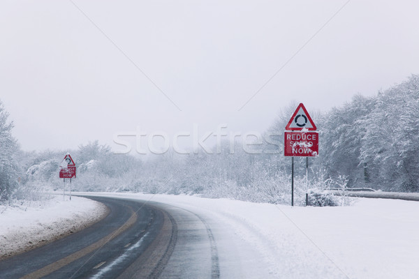 Road with Reduce speed now sign during snow fall Stock photo © RTimages