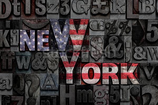Zdjęcia stock: Nowy · Jork · banderą · słowa · starych · metal