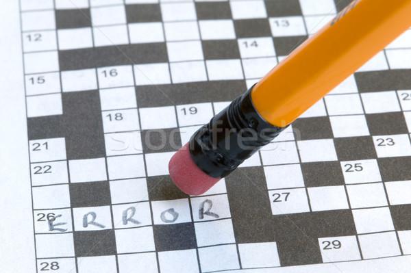 Kreuzworträtsel Fehler geschrieben Bleistift Puzzle Briefe Stock foto © RTimages