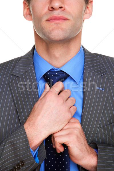 Empresario empate hasta listo negocios blanco Foto stock © RTimages