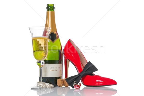 şampanya parti siyah kravat kırmızı ayakkabı Stok fotoğraf © RTimages