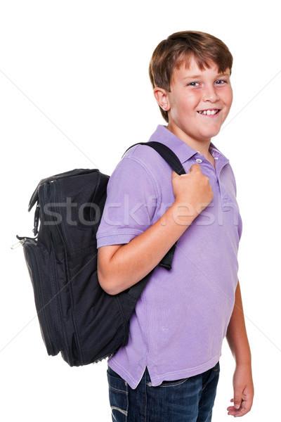 Estudante saco isolado foto 11 anos Foto stock © RTimages