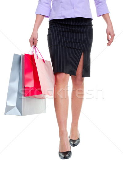 Pinstripe skirt and shopping bags Stock photo © RTimages