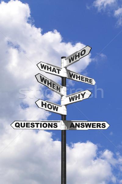 Zdjęcia stock: Pytania · odpowiedzi · kierunkowskaz · pionowy · obraz · sześć