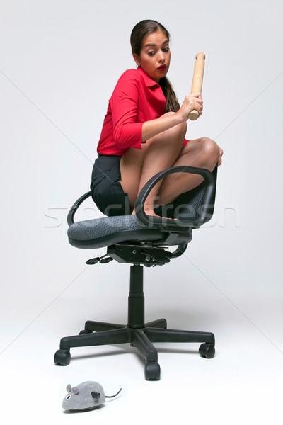 Mulher mouse fobia como ratos cadeira de escritório Foto stock © RTimages