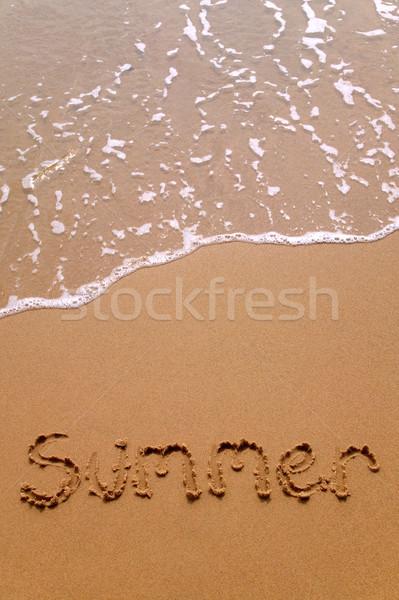 Foto stock: Verão · areia · vertical · escrito · praia · sol