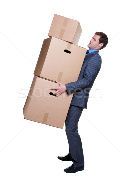 Businessman carrying boxes Stock photo © RTimages