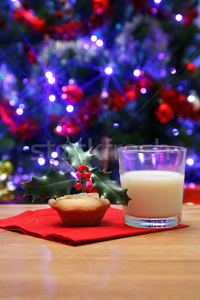 Glass of milk and a mince pie for Santa Stock photo © RTimages