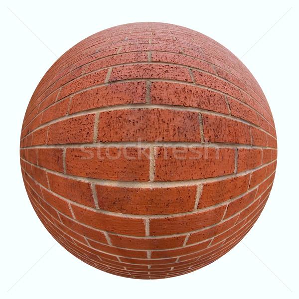 Tégla labda téglafal halszem lencse textúra Stock fotó © RTimages