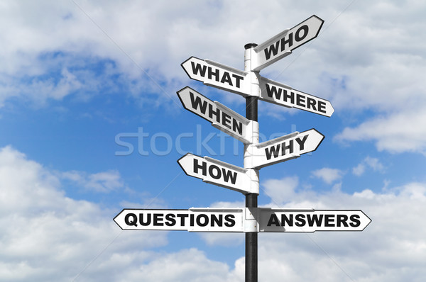 Stock photo: Questions and Answers signpost