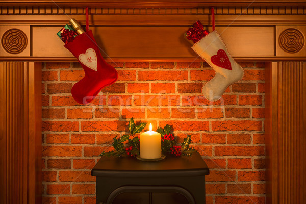 Christmas stockings hanging over the fireplace. Stock photo © RTimages