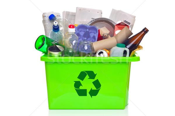 Zöld újrahasznosítás tároló izolált fehér fotó Stock fotó © RTimages