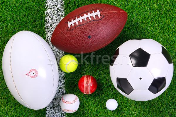 Sports balls on grass from above. Stock photo © RTimages