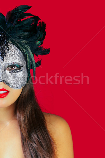 Masquerade mask red background Stock photo © RTimages