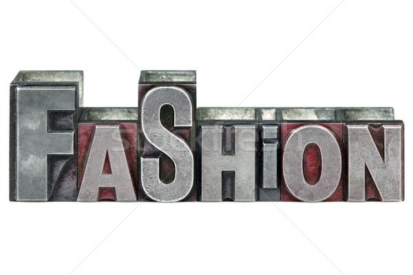 Magasnyomás divat szó öreg nyomtatás kockák Stock fotó © RTimages