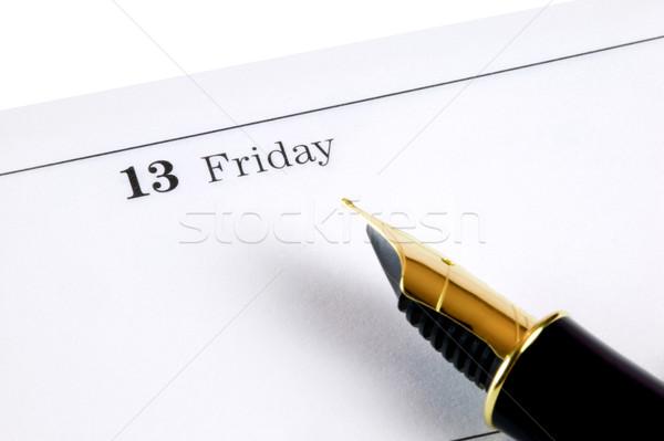 Dagboek pagina goud vulpen punt kalender Stockfoto © RTimages