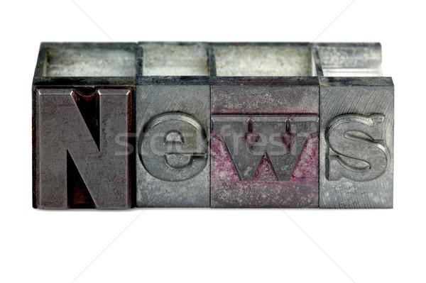 Magasnyomás hírek szó öreg nyomtatás kockák Stock fotó © RTimages
