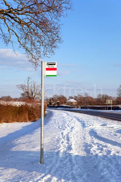 Przystanek autobusowy śniegu ciężki spadek podpisania zimą Zdjęcia stock © RTimages