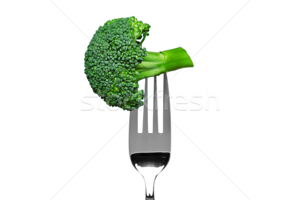 Broccoli on a fork isolated on white Stock photo © RTimages