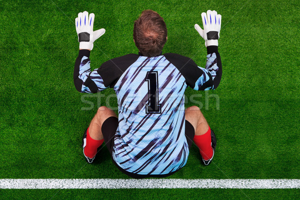 Stock photo: Overhead shot of a goalkeeper on the goal line
