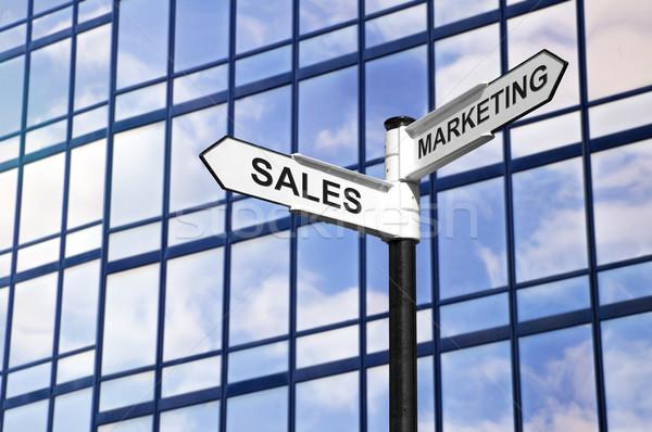 Eladó marketing üzlet útjelző tábla kép modern Stock fotó © RTimages