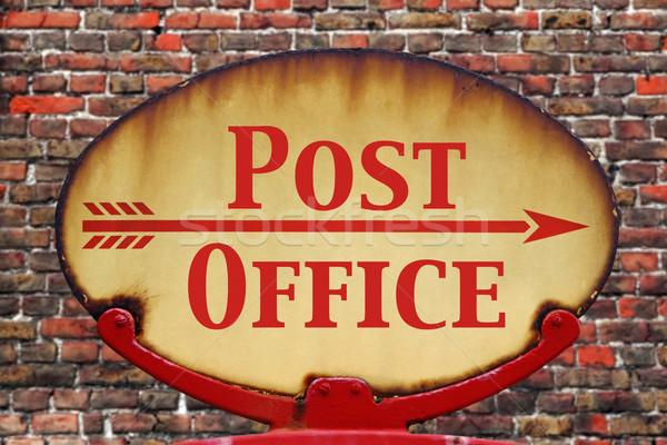 Retro assinar correios enferrujado velho Foto stock © RTimages