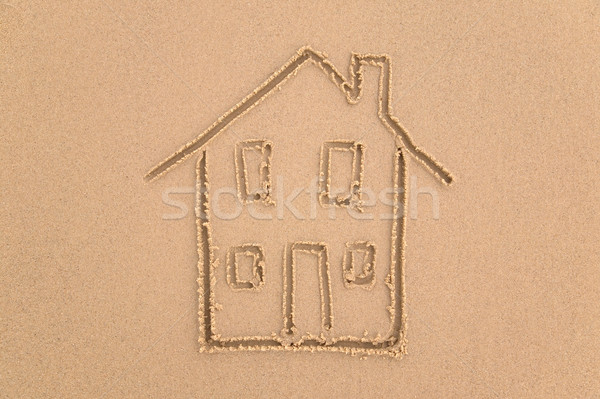 Maison de plage sable dessin maison plage maison Photo stock © RTimages