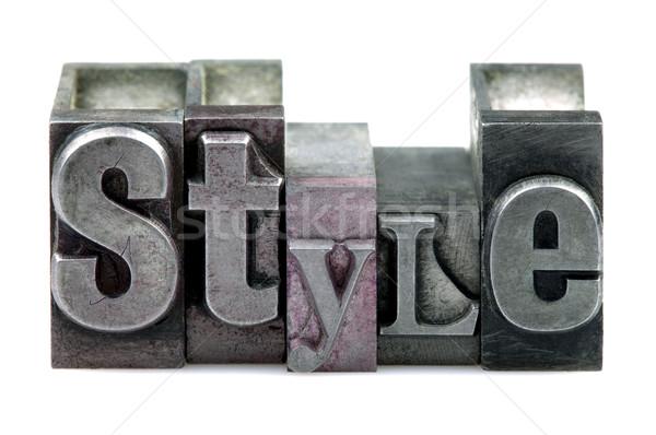 Magasnyomás stílus szó öreg nyomtatás kockák Stock fotó © RTimages