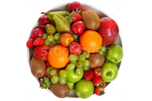 Stockfoto: Kom · vers · fruit · geïsoleerd · witte · foto · shot
